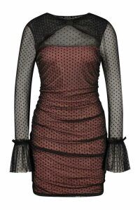 Womens Mesh Polka Dot Long Sleeve Mini Dress - Black - 14, Black