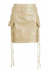 Womens Leather Look Pocket Side Mini Skirt - Beige - 16, Beige