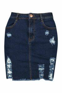 Womens Power Stretch Distressed Denim Skirt - blue - 16, Blue