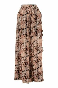 Womens Bohemian Paisley Print Ruffle Maxi Skirt - Black - 16, Black