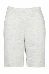 Womens Long Line Loopback Boyfriend Shorts - Grey - 16, Grey