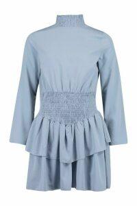 Womens Shirred High Neck Drop Hem Mini Dress - Blue - 16, Blue