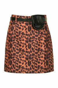 Womens Leopard Print Mini Skirt With Belt - Multi - 16, Multi