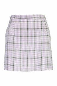 Womens Checked A Line Mini Skirt - Purple - 16, Purple