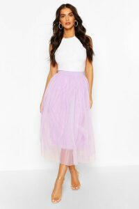 Womens Tulle Longer Length Midi Skirt - Purple - 16, Purple