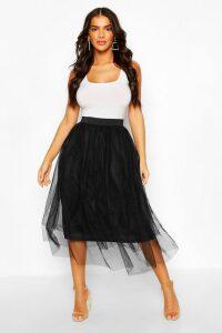 Womens Tulle Longer Length Midi Skirt - Black - 12, Black