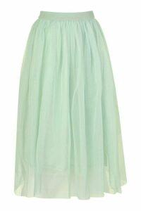 Womens Tulle Longer Length Midi Skirt - Green - 16, Green