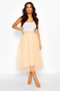 Womens Tulle Longer Length Midi Skirt - Beige - 16, Beige