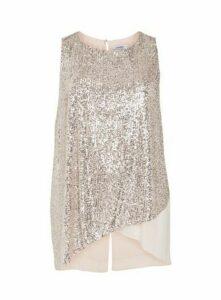 Blush Sleeveless Sequin Overlay Top, Blush