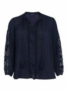 Navy Blue Crochet Sleeve Blouse, Navy