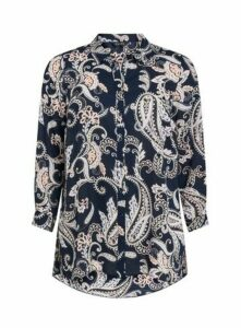 Navy Blue Paisley Dipped Hem Shirt, Navy