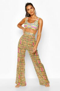Womens Wide Leg Beach Trousers - Yellow - 18, Yellow