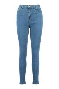 Womens Power Stretch High Waist Skinny Jean - Blue - 16, Blue