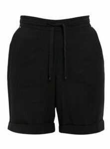 Black Linen Blend Shorts, Black