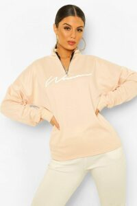 Womens Woman Slogan Rib Neck Zip Sweatshirt - Beige - 16, Beige