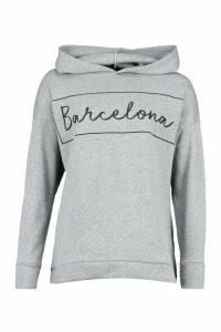 Womens Barcelona Oversized Hoodie - grey - 16, Grey