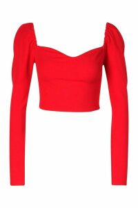 Womens Crepe Sweetheart Long Sleeve Top - Red - 14, Red