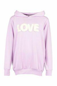 Womens Fur 'Love' Hoody - Purple - M, Purple