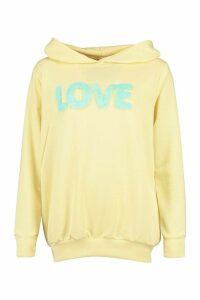 Womens Fur 'Love' Hoody - Yellow - L, Yellow