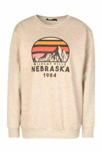 Womens Nebraska Crew Neck Sweat - Beige - S, Beige