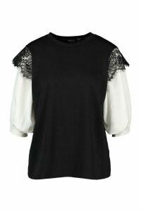 Womens Lace Contrast Sleeve T-Shirt - Black - 16, Black