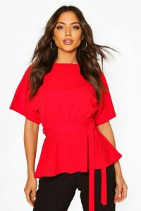 Womens Crepe Kimono Sleeve Belted Top - Red - 16, Red