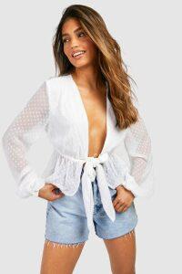 Womens Dobby Chiffon Tie Front Blouse - white - 14, White