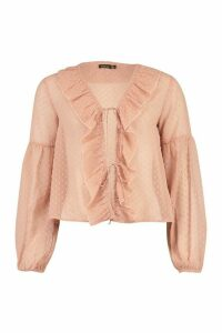 Womens Dobby Mesh Tie Front Ruffle Blouse - Pink - 12, Pink