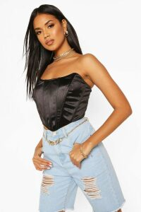 Womens Satin Corset Top - black - 16, Black