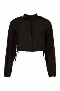 Womens Drawcord Cropped Woven Shirt - black - 12, Black