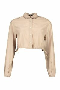 Womens Drawcord Cropped Woven Shirt - Beige - 16, Beige