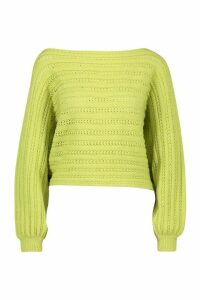 Womens Off Shoulder Balloon Sleeve Jumper - green - M, Green