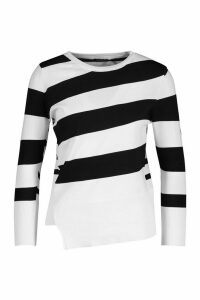 Womens Stripe Knit Jumper - black - M, Black