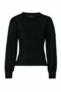 Womens Balloon Sleeve Jumper - Black - M, Black