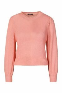 Womens Balloon Sleeve Jumper - Pink - M, Pink