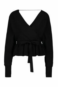 Womens Knitted Wrap Peplum Jumper - Black - M, Black