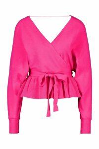 Womens Knitted Wrap Peplum Jumper - Pink - M, Pink