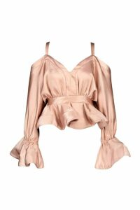 Womens Stetch Satin Cold Shoulder Peplum Top - pink - 16, Pink