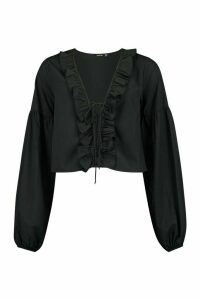 Womens Woven Ruffle Detail Lace Up Blouse - black - 16, Black