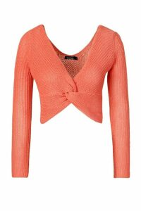 Womens Off Shoulder Jumper - Orange - M, Orange