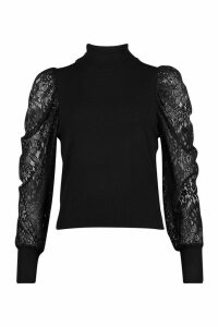 Womens roll/polo neck Knitted Lace Top - black - L, Black