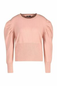 Womens Volume Sleeve Knit Jumper - Pink - M, Pink