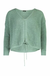 Womens Ruched Tie Front Jumper - green - M, Green
