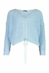 Womens Ruched Tie Front Jumper - blue - M, Blue