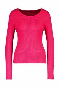 Womens Tall Fine Rib Crew Neck Jumper - Pink - M, Pink