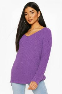 Womens Oversized V Neck Jumper - Purple - M/L, Purple