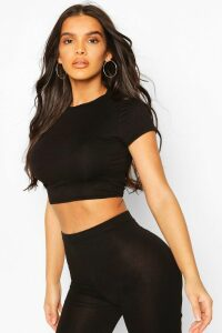 Womens Crew Neck Cap Sleeve Crop Top - black - 10, Black