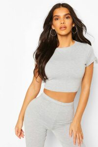 Womens Crew Neck Cap Sleeve Crop Top - grey - 16, Grey