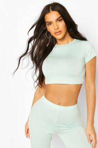 Womens Crew Neck Cap Sleeve Crop Top - Green - 16, Green