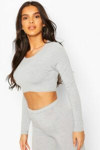 Womens Crew Neck Long Sleeved Crop Top - grey - 14, Grey